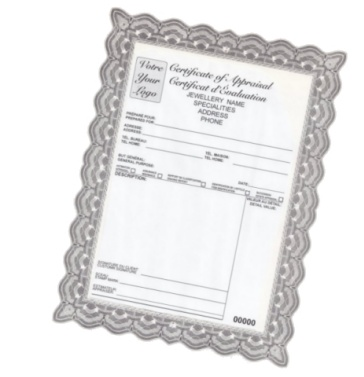Certificat pour bijoux
